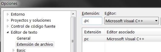 Configurar Visual Studio para formatear el código de archivos .pc